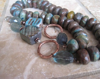 The time is right, oregon opal, faceted fluorite, kiln fired raku beads, brown necklace