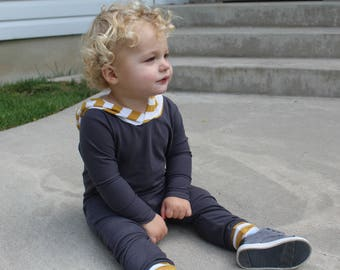 Baby Romper, Toddler Romper - Gray Romper, Mustard Hood, One Piece, Bodysuit, Long sleeve romper, Boy outfit, Girl outfit