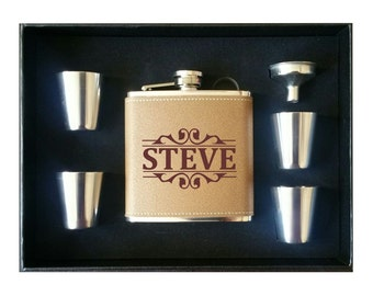 Personalized Flask 4 Shot Glasses Gift Box and Funnel, Personalized Leather Flask, Groomsman Gift Leather Groomsmen Flask, Fathers Day Gift