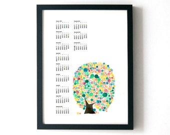Printable CALENDAR 2017 Christmas Gift - SKYSCRAPER CALENDAR Birds and Trees of Life - wall art calendar gift print poster for New Year Gift