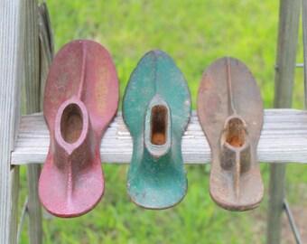 Iron Cobblers Shoe Lasts - Shoe Maker's Tools - Industrial Iron Decor - Vintage Shoe Forms - Cobblers Tool - Malleable Shoe Last - Boot Last