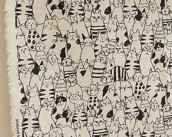 Japanese Cotton Linen Canvas Fabrics - cats