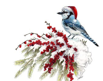 Blue Jay Christmas Painting / Christmas gift for mom / Acrylic Print / Watercolor Painting / Christmas gift for wife / best friend gift