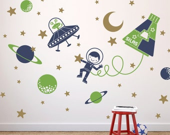 Space Boy Wall Decal Sticker Outer SpaceWalk for Children Nursery