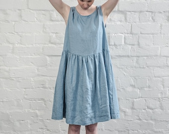 Smock linen dress / Swedish blue  linen loose dress / available in 34 colors