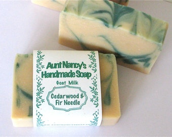 Cedarwood and Fir Needle Natural Handmade Goat Milk Soap Mild Gentle Homemade Soap Scented With Natural Essential Oils - Nice Soap for Men