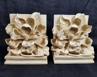 Bookend Pair Magnolia Blossom, Antique White Shabby Cottage, Iconic Vintage 80's, Floral Bookends, Family Room, Library, Office, Living Room