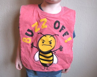 Buzz Off--Baby / Toddler Bib, Upcycled, Recycled T-Shirt, Cotton, Reversible, Pink, Yellow, Bee, Bug, Insect, Shower Gift, OOAK