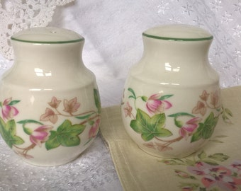 Doulton salt and pepper shakers. Expressions pattern of pink flowers and ivy leaves. Quite large tactile shape. Green line at rim.
