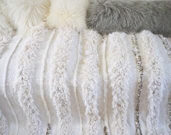 Moroccan Ivory White Wedding Blanket Vintage Blanket Throw
