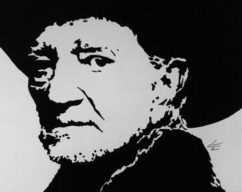 Original Pen & ink drawing of Willie Nelson