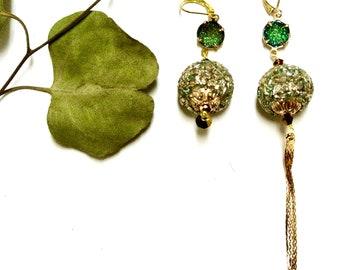 Kashmiri bead earrings, asymmetrical design *free shipping**