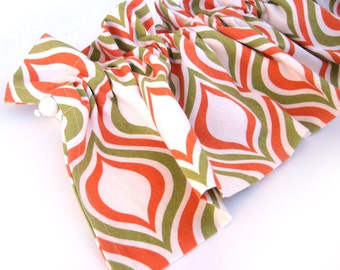 SUNNY Valance Curtains Orange Green Cream White Patterned 44 inches wide Kitchen Window Valance Curtain Bay Window Panel Eva Clements Banana