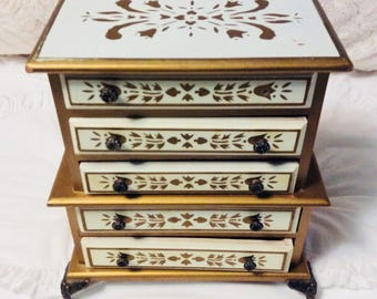 Vintage Large Ornate CREAM and GOLD Wood Jewelry Music Box
