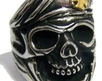 Skull with Iron Cross Beret Ring
