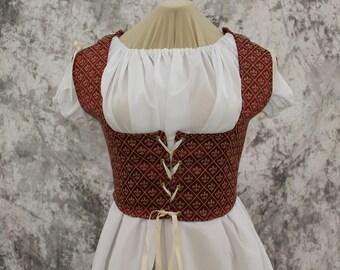 Brick Red and Gold Renaissance Costume-Halloween Costume-Medieval Dress-LARP-Ren Fair-Steampunk-SCA-Adult Costume-Fantasy Dress-Item #263