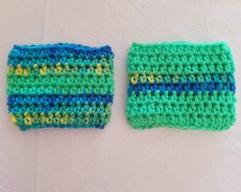 Set of 2 Coffee Cup Cozies in Mermaid Green Mix