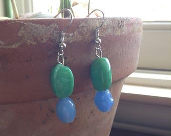 Everyday Handmade Asymmetrical Dangle Earrings Blue and Green