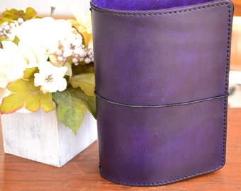 A5 Executive Leather Traveler's Notebook Cover: Purple