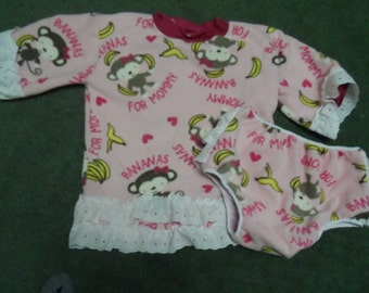 Adult Baby shirt and diaper cover. fleece monkey with lace