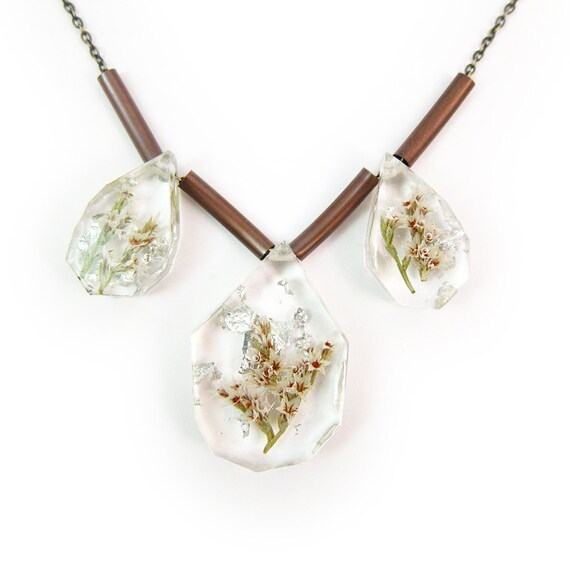 Tiny Flower and Silver Leaf Trio Necklace • Flowers in Resin Necklace • Eco Resin Silver Leaf Botanical Jewelry • Nature Resin Specimen
