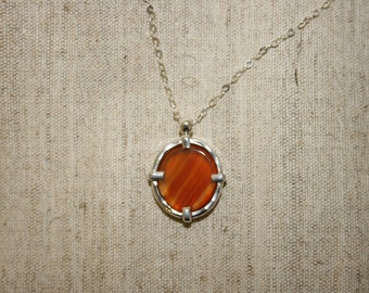 Agate Silver Necklace,Silver Nacklace , 925 Sterling Pendant, Silver Jewelry, Handcrafted Pendant, Free Shipping,