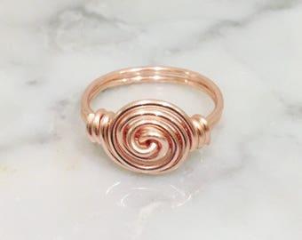 Rose Gold Spiral Ring •Swirl ring • Galaxy ring • Rose gold ring • Stacking ring • Boho Ring