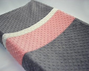 Steel Gray Changing Pad Cover with Stripes