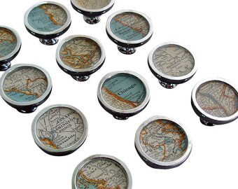Map Drawer Pulls or Handles Cabinet Knobs Custom Cities  Vintage Atlas or for Desk Drawers  or Kitchen Cabinets 1 Knob