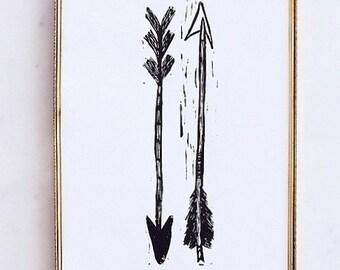 "arrows linoleum block print - 11"" x 14"" wall art"