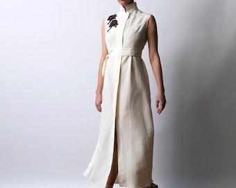 Ivory Linen Wedding Dress