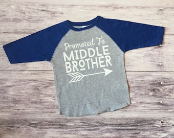 promoted to middle brother shirt, pregnancy announcement shirt, soon to be middle brother shirt, new baby announcement, middle brother tee