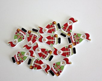 Santa Claus Wood Buttons - 10 ct