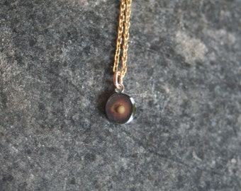 FAITH the Size of a Mustard Seed Oxidized Sterling Silver Small 8 mm Mustard Seed Resin Pendant Thin Rope 14 K Gold Filled Chain Necklace