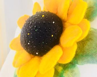 Brooch Felted, Merino Wool,Sunflower,Flower, Stylish,