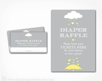 Diaper Raffle Cards and Sign - Gender Neutral Rain Baby Shower Printable - Instant Download - Yellow Green Grey Gray Raffle Insert Ticket