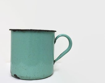 Primitive Chamber Pot with  Chippy Blue-Green Enamel - Rustic Decor - Photo Prop