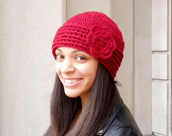 Crochet Hat,Flower Hat, Beanie With Flower, Dark Red, Adult, Crochet, Women, Teen,