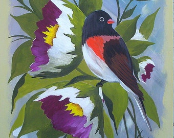 """Original acrylic painting """"Oregon Junco and Blossoms"""" Bird painting Bird Art Wall Art by Michael Hutton 9 by 12"""