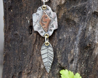 Sterling Bronze Leaf Necklace. Hand Stamped . Stamped Bronze . Rustic . Earthy . Boho .