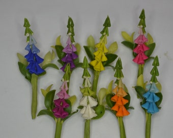 1 miniature handmade Foxgloves / Digitalis without Pot for dollhouse / terrarium mini garden ornaments