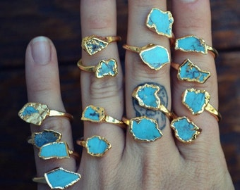Turquoise Wrap Ring /// GOLD