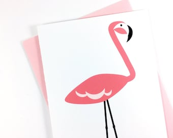 Pink Flamingo Card, All Occasion Greeting Card for Her, Thinking of You Card, Pretty Stationery, Just Because Card, Single Card, Blank Card