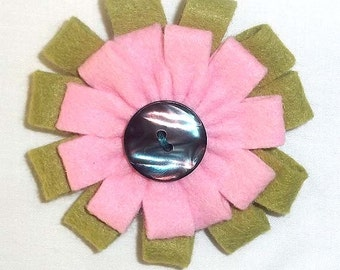 Pink and Green Felt Flower Brooch Accessory