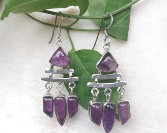 Amethyst Earrings, 925 Silver Earrings, Sterling Silver Earrings, Purple Stone Earrings, Gemstone Earrings, long dangler earrings