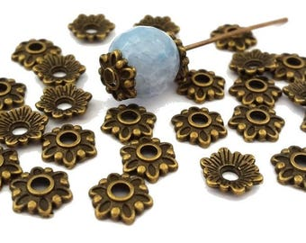 30 cups flowers nickel free, bronze, diameter 8mm (AP128)
