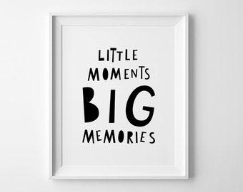 Black and white art, nursery wall art print, Mini Learners, Little moments big memories, nursery decor poster, kids wall art, nursery print
