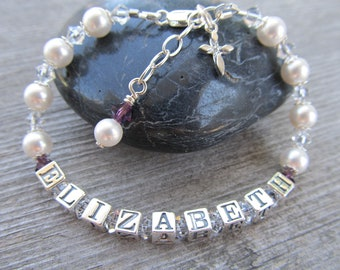 Girls Name Bracelet with Swarovski Crystals & Pearls and Sterling Silver