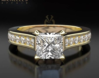 Princess Cut Engagement Ring 1 1/3 Carat D SI2 Diamond Women Yellow Gold Setting With Side Accent Diamonds