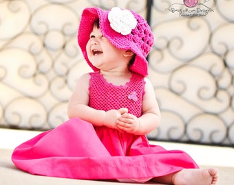 Crochet PATTERN - Summer Fling Sun Hat with 3 Layer Flower - All sizes included - Fast and Easy - pdf 103- SELL what you make